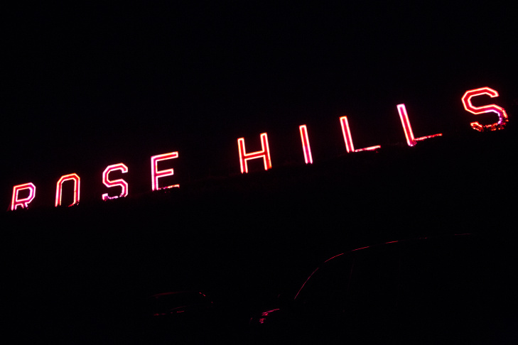The Rose Hills neon sign at Whittier's Rose Hills Memorial Park is one of the biggest commercial signs in Southern California.