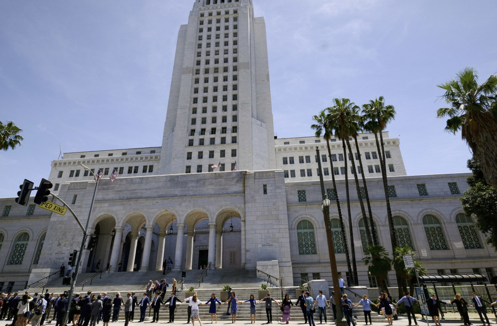 FILE: Los Angeles City Council members backed proposals Wednesday to set up a hotline and website aimed at making it easier for workers to report sexual harassment cases and improve policies on sexual harassment.
