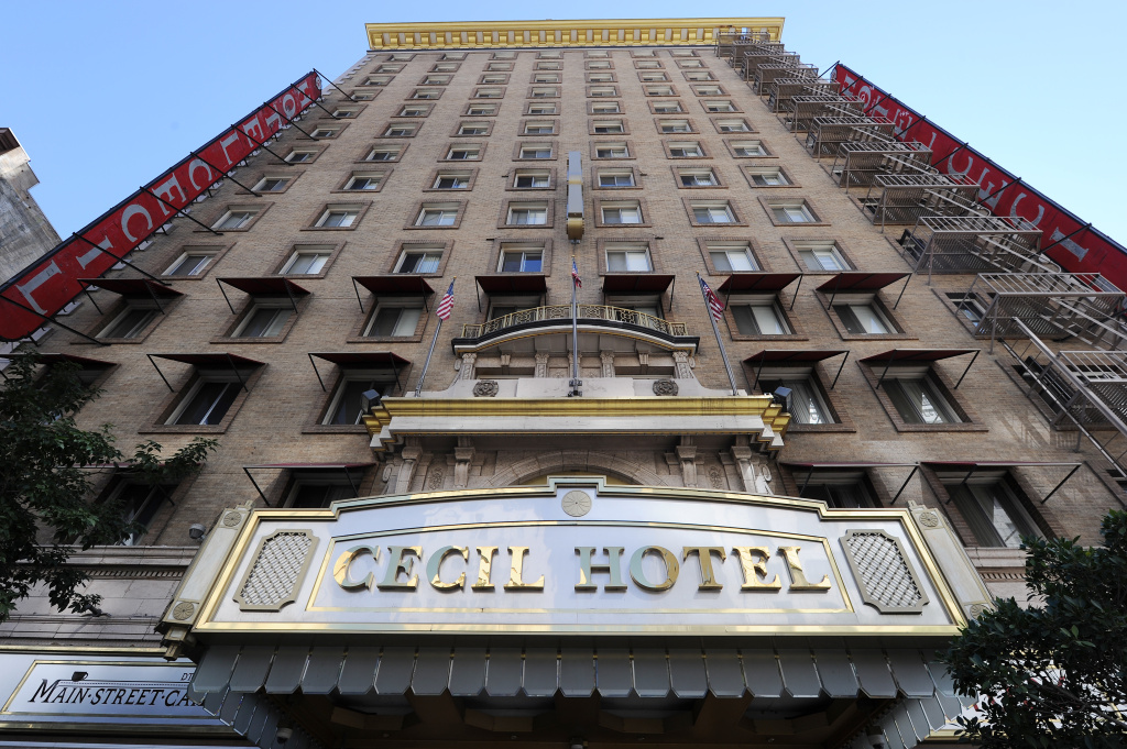 The exterior of the Cecil Hotel is seen in Los Angeles California February 20, 2013. The body of 21-year-old Canadian tourist Elisa Lam was found in a water tank on the roof of the hotel three weeks after she went missing, police said. The corpse was found February 19 after hotel guests complained of low water pressure.  AFP PHOTO/Robyn BECK        (Photo credit should read ROBYN BECK/AFP/Getty Images)