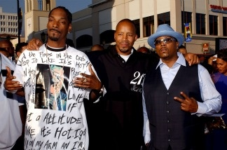 Musicians (left to right) Snoop Dogg, Warren G and Nate Dogg of 213 arrive to the 'First-Ever' BET Comedy Awards at the Pasadena Civic Auditorium on Sept. 28, 2004.