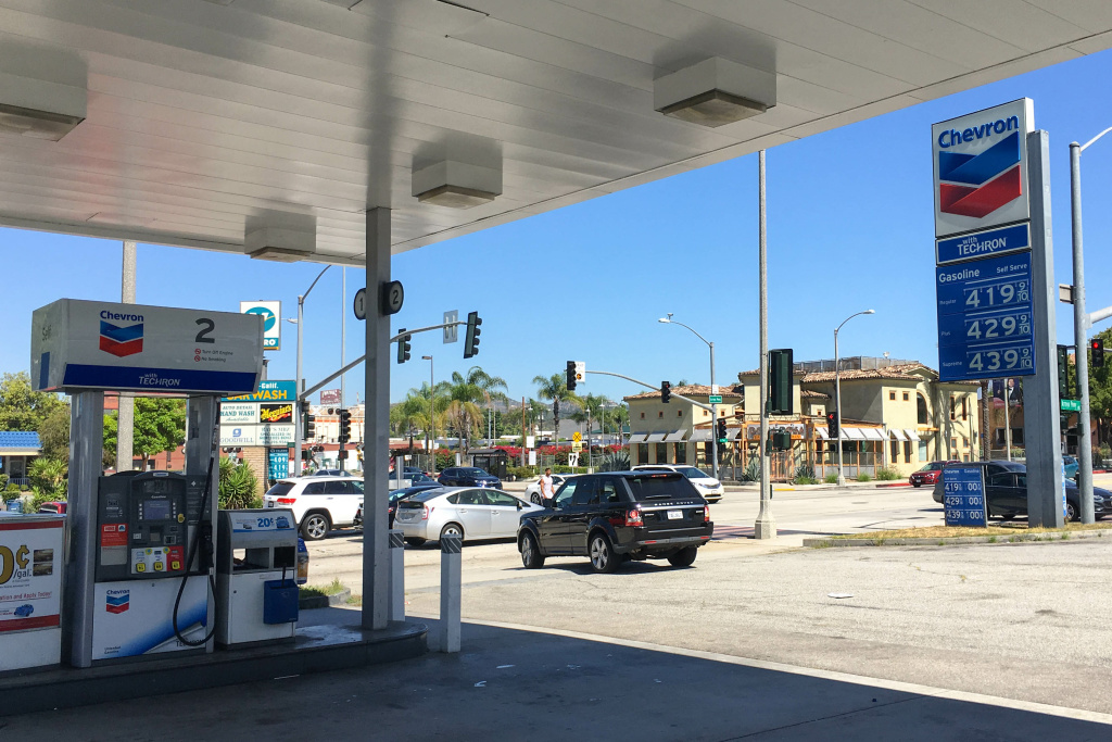 The Chevron station on the corner of Arroyo Parkway and California Boulevard in Pasadena.