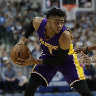 DALLAS, TX - MARCH 07:  D'Angelo Russell #1 of the Los Angeles Lakers at American Airlines Center on March 7, 2017 in Dallas, Texas.