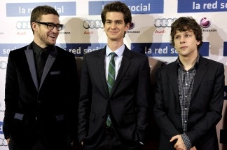 Actors Justin Timberlake (left to right), Andrew Garfield and Jesse Eisenberg attend 'The Social Network' photocall at the Priyecciones cinema on Oct. 6, 2010 in Madrid, Spain. The film was awarded best picture by the Los Angeles Film Critics Association on Dec. 12. 2010.