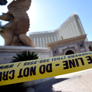 Police tape blocks an entrance at the Mandalay Bay Resort & Caisno on October 4, 2017 in Las Vegas, Nevada.