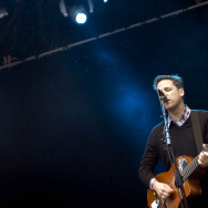 Joey Burns, singer of the US rock group Calexico, performs at the Way Out West music festival in Gothenburg, Sweden, on August 15, 2009.