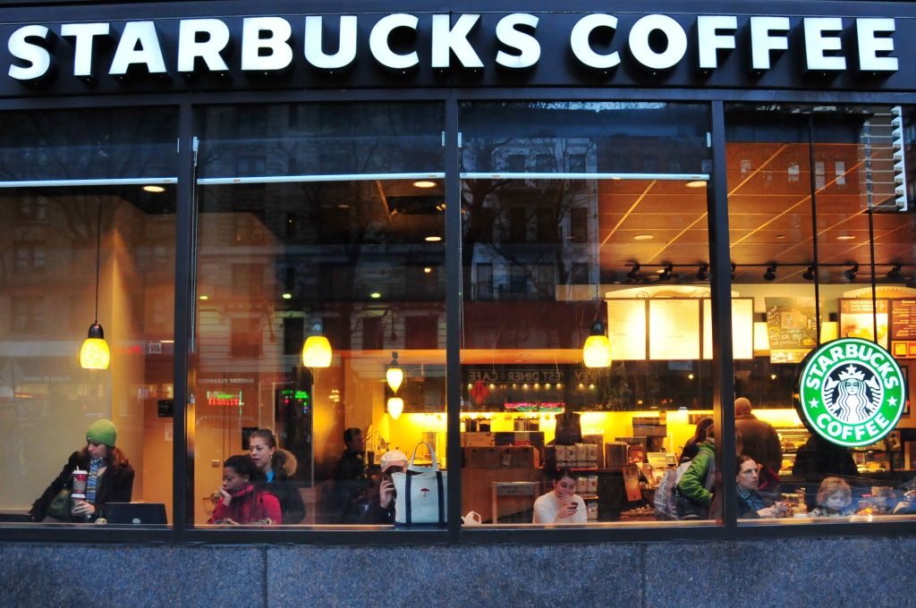 A Starbucks snapshot taken on the Upper West Side in New York City.