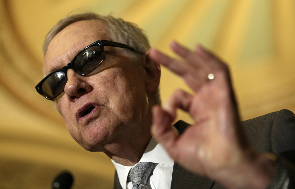Senate Minority Leader Harry Reid (D-NV) answers questions from reporters following the weekly Democratic caucus policy luncheon at the U.S. Capitol May 5, 2015 in Washington, DC.