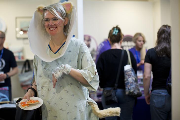 Athena Stamos, left, dressed as Chemistry Cat, Linda Trujillo, dressed as Haru Yoshioka from