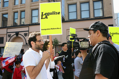 American Apparel clothing company CEO Dov Charney is interviewed during an immigration rally in Los Angeles, Sept. 24, 2008.