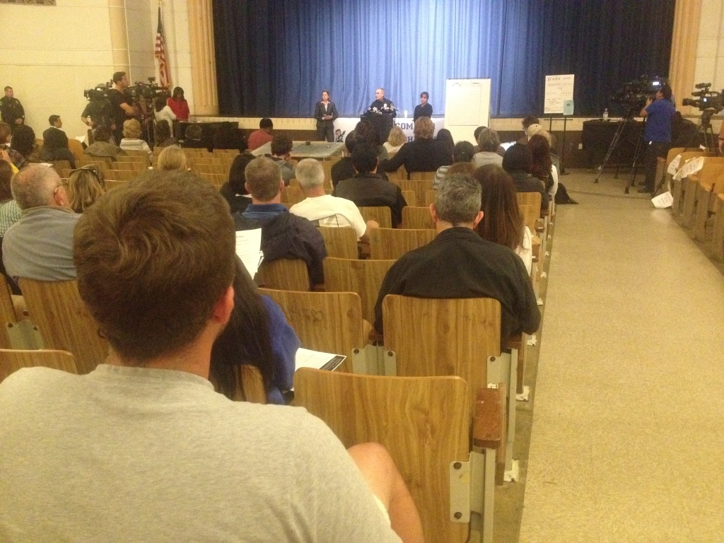 Several dozen parents attended a meeting Wednesday, March 18, 2015, at Venice High School Auditorium to hear officials talk about the arrest of 12 students for alleged sexual assault.