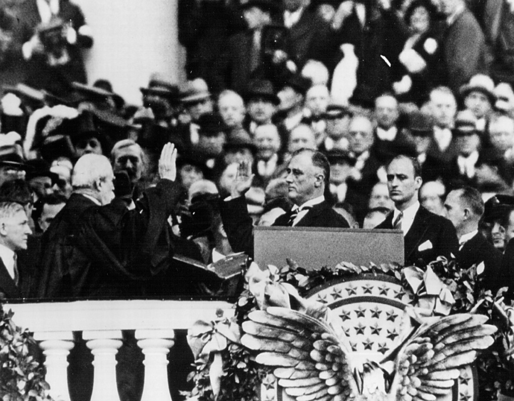 Franklin D. Roosevelt takes the Oath of Office as President of the United States in 1933 in Washington, D.C.