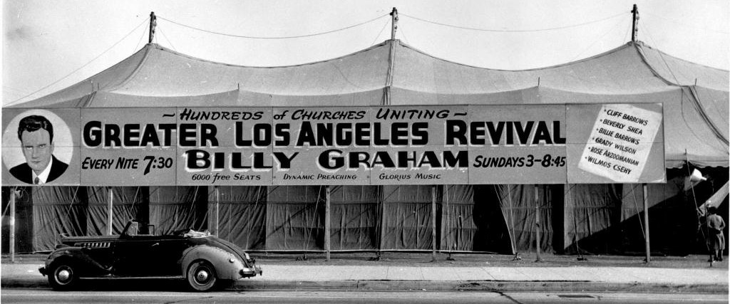 A photo from one of Billy Graham's first crusades in Los Angeles on September 25, 1949.
