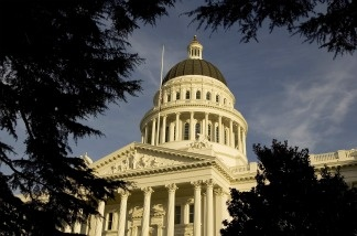 An exterior of the state capitol building in Sacramento, California.