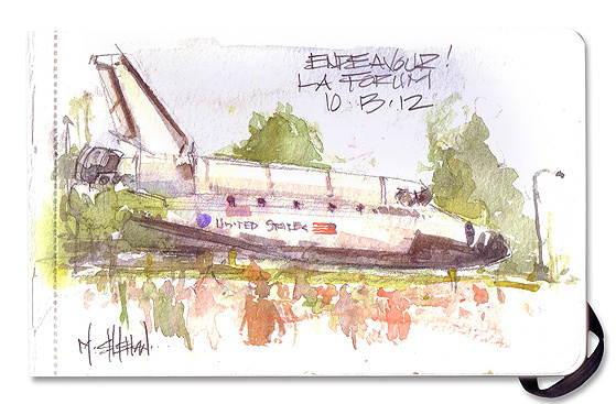 When everyone else was taking photos or video, Mike Sheehan sketched Shuttle Endeavour last weekend as it traveled from LAX to the California Science Center.