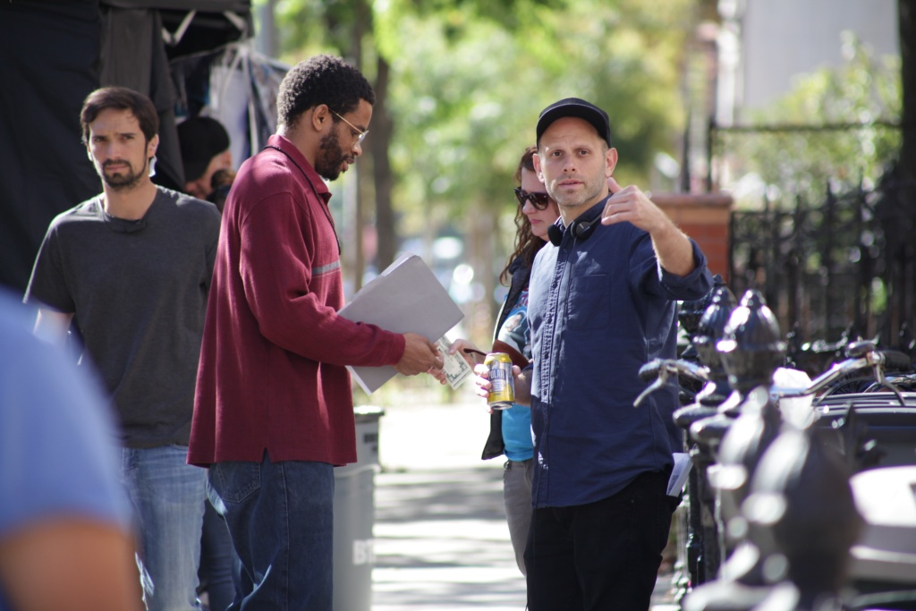 Actor and producer Nnamdi Asomugha and director Matt Ruskin on the set of