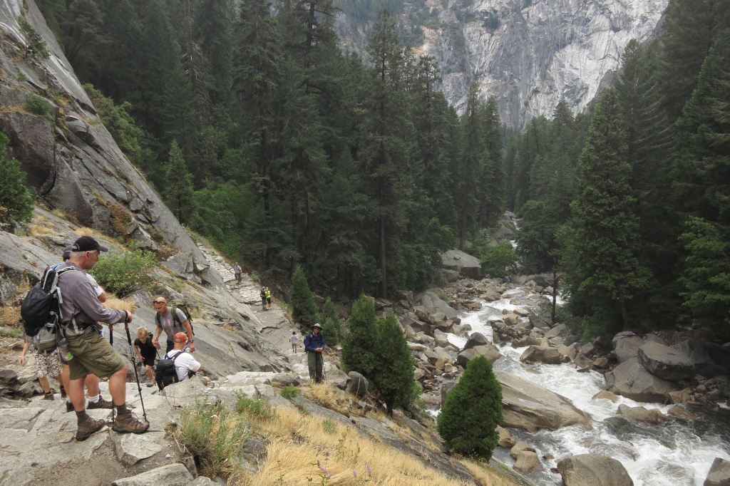 Visitors hike the Vernal Fall trail in Yosemite National Park, California. Yosemite is among California's biggest tourist destinaitons.