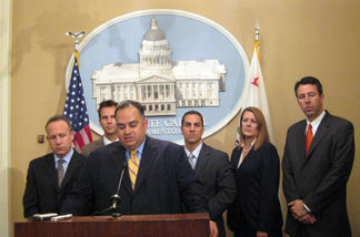 Assembly Speaker John A. Perez speaks at a press conference on August 19, 2010 announcing legislation in response to the scandals involving the pay of Bell city officials.