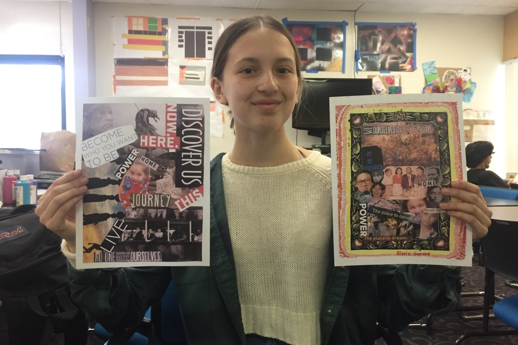 18-year-old Alexis Guerra holds up two collages she created with the help of a teaching artist and ArtworxLA. The collages were about different periods of displacement in history.