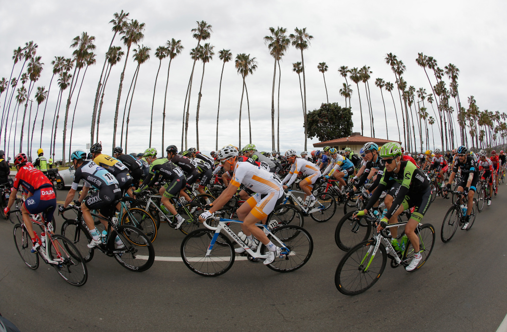 The peloton leaves the start of stage five of the 2015 Amgen Tour of California from Santa Barbara to Santa Clarita.
