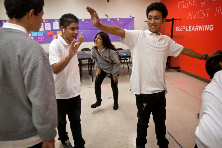 Students Kevin, left, Stephanie, and James take part in an exercise during an acting class on Oct. 1 at Hollywood Media Arts Academy, an alternative school focused on arts education.