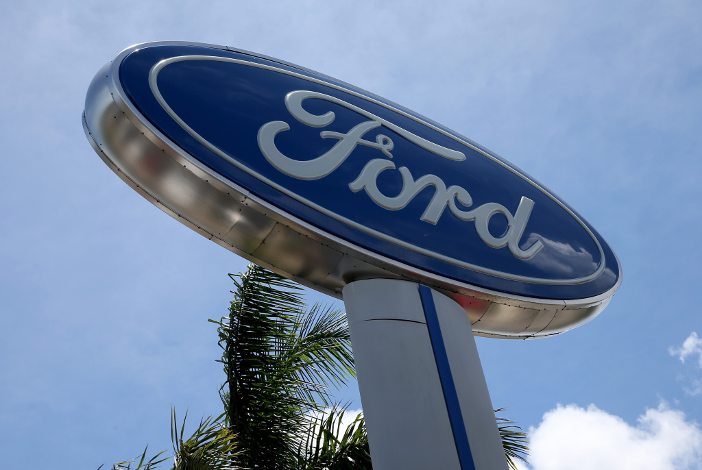 Ford sign is seen at a dealership in Miami, Florida. The company announced the six separate recalls Tuesday. No injuries related to the defects have been reported.