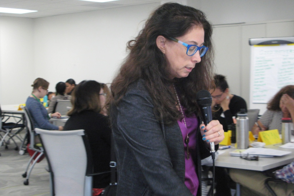Gabrielle Kaufman, training director with Maternal Mental Health Now, leads the first-ever workshop for interns with the L.A. County Department of Children and Family Services.