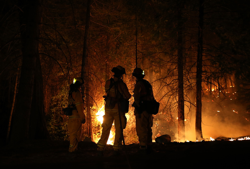 Firefighters from Cosumnes Fire Department monitor a back fire while battling the Rim Fire on August 22, 2013 in Groveland, California.
