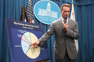 Gov. Arnold Schwarzenegger discusses the legislature's failure to pass a state budget plan, during a Capitol news conference in Sacramento, Calif., Wednesday, Sept. 1, 2010. File photo.