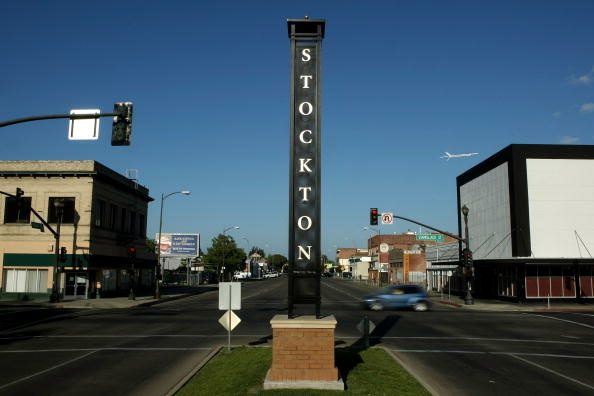 A deserted section of downtown Stockton. The bankrupt California city has shown a willingness to default on its debt, according to Moody's.