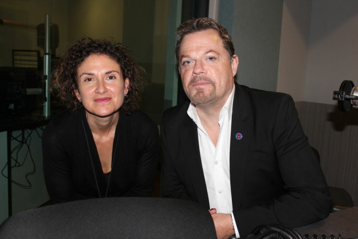 Alex Cohen and Eddie Izzard in the Take Two studio.