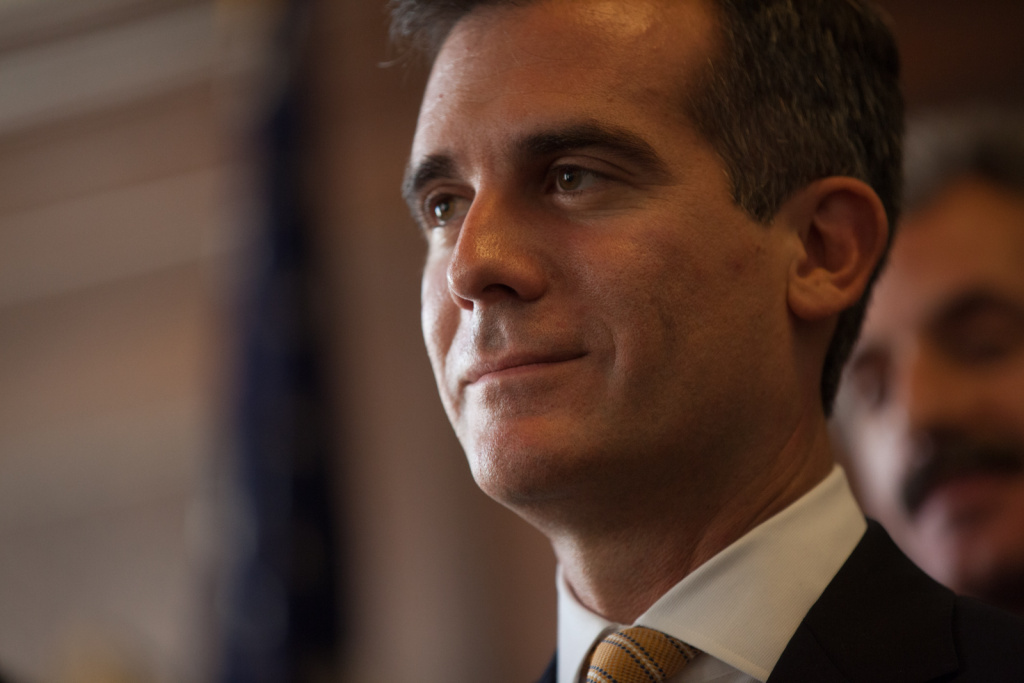 Eric Garcetti discusses a new deal he reached with Department of Water and Power workers on August 22nd, 2013 at Los Angeles City Hall.