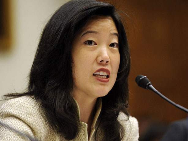 D.C. Chancellor Michelle Rhee, shown here in 2008, donated $250,000 to a PAC supporting charter-friendly L.A. school board candidates.