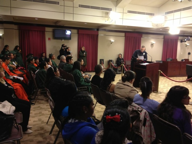 Students and community members at L.A. City Council's public safety committee