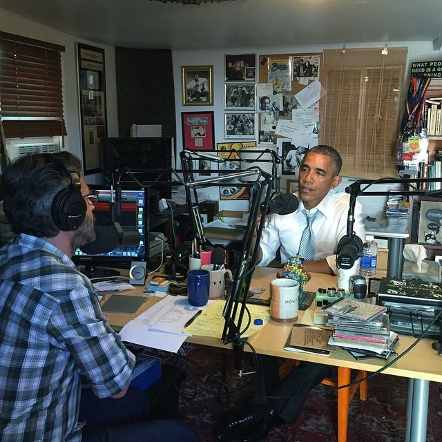 President Barack Obama speaks with Marc Maron in the comedian and podcast producer's garage on Friday, June 22, 2015.