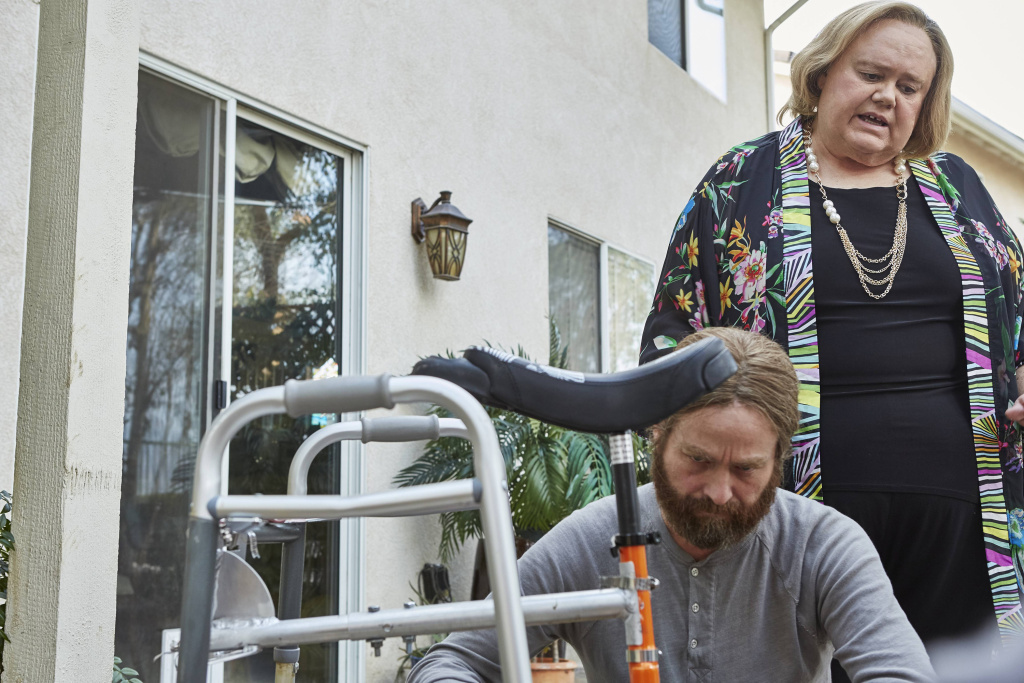 Zach Galifiniakis plays Chip Baskets and Louie Anderson is his mother, Christine, on the FX series,