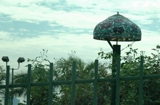 Tiffany lamp in a Beverly Hills field.
