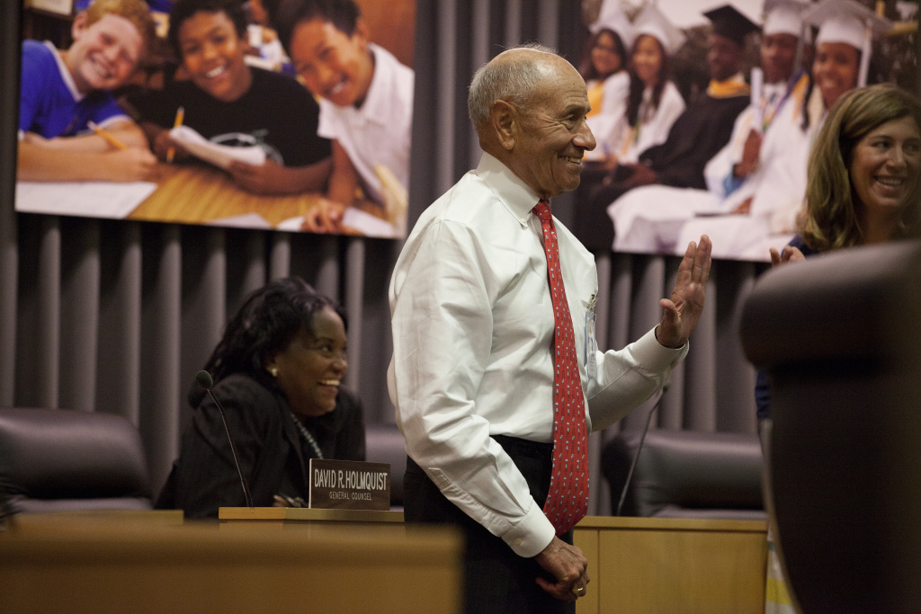 L.A. Unified Superintendent Ramon Cortines attends his first school board meeting Tuesday after stepping in for John Deasy, who resigned.