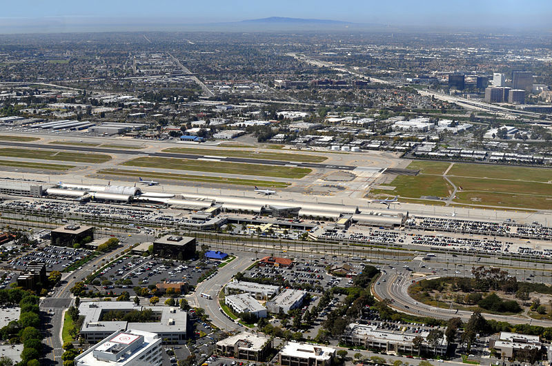 John Wayne Airport and Terminal from 900 feet above ground, taken in 2011.