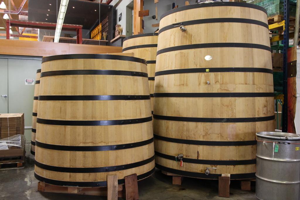 Whiskey aging barrels.