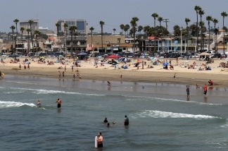 View of Balboa beach one of the popular beaches of Newport Beach, California.