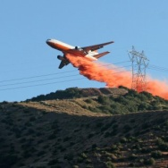 Fire retardant drop near power lines