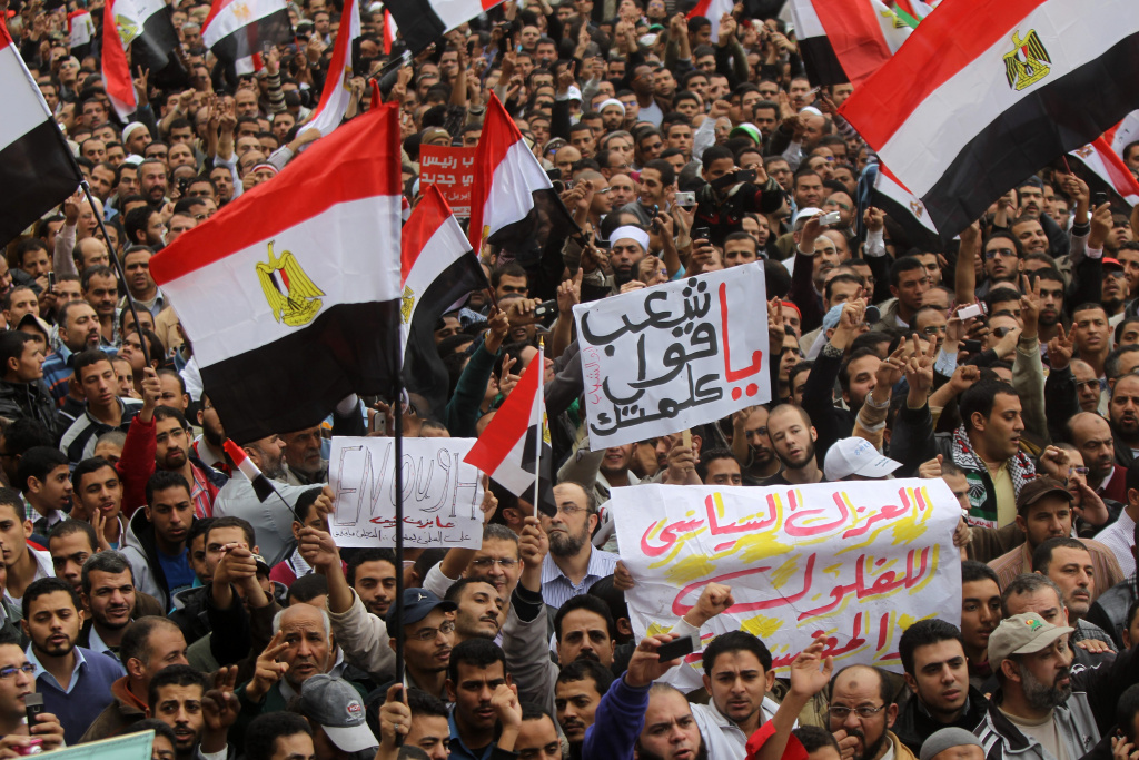 Tens of thousands of Egyptians took part in a rally in Cairo's landmark Tahrir Square on November 18, 2011 with the aim of pushing Egypt's ruling military to cede power, 10 months after an uprising that toppled Hosni Mubarak's regime.