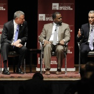 L.A. Mayor Eric Garcetti is joining his counterparts in Chicago and New York in encouraging permanent residents to become citizens. Pictured at a mayor's forum from right to left are Garcetti, Chicago Mayor Rahm Emanuel, Atlanta Mayor Kasim Reed and New York Mayor Bill De Blasio.