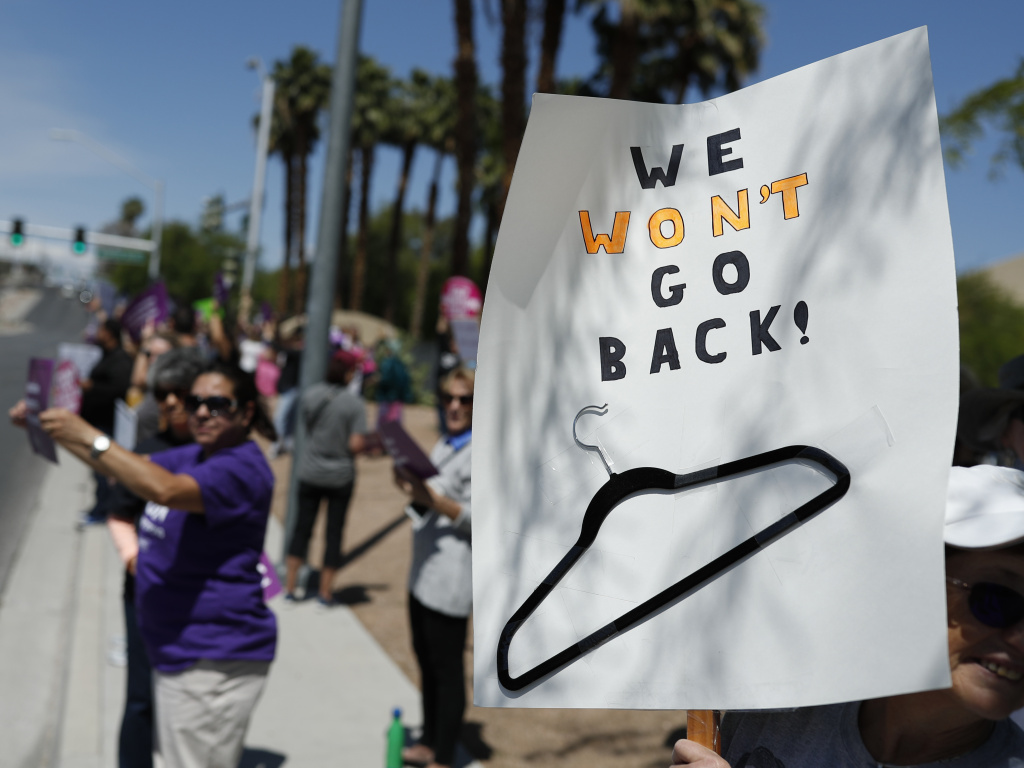 People rally in support of abortion rights on Tuesday in Las Vegas.