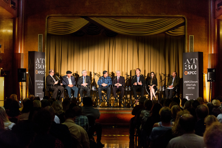 Larry Mantle hosts a discussion on the future of LA's ports at the Queen Mary in Long Beach on June 2, 2015.