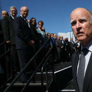 California Gov. Jerry Brown walks on stage before speaking during the Drive The Dream event at the Exploratorium on September 16, 2013 in San Francisco, California.