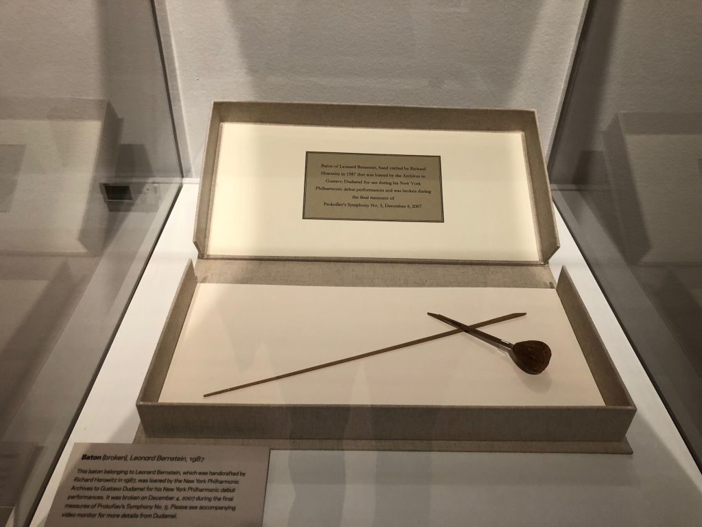 Bernstein's baton that Gustavo Dudamel used while performing in New York in 2007. Like Bernstein, Dudamel was a very passionate, physical performer – to the point where he broke the baton mid-concert.