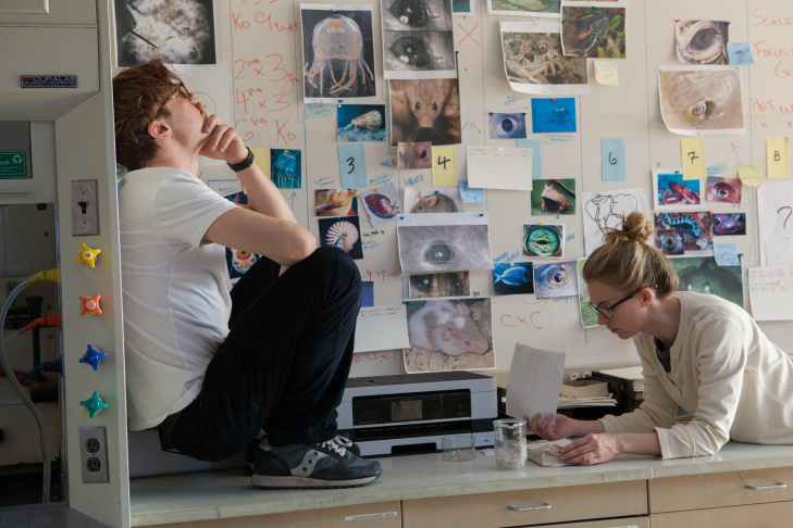 "Michael Pitt as ""Dr. Ian Grey"" and Brit Marling as ""Karen"" in I ORIGINS."