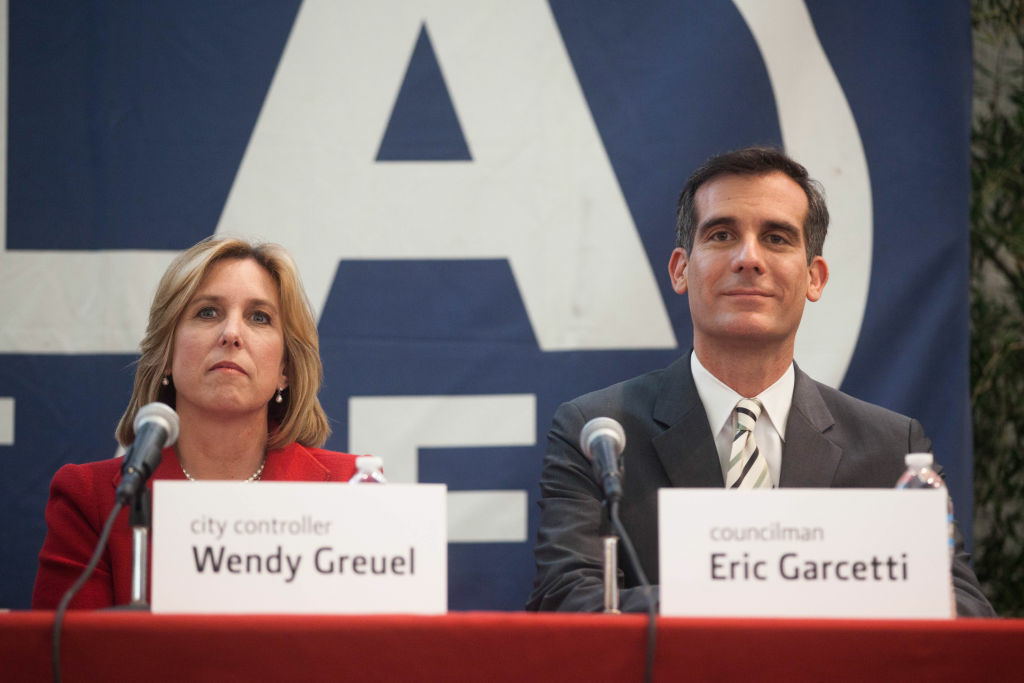 The two leading rivals for the LA mayor's race, City Controller Wendy Greuel and Councilman Eric Garcetti, take part in a candidate forum at Leo Baeck Temple in the Sepulveda Pass.