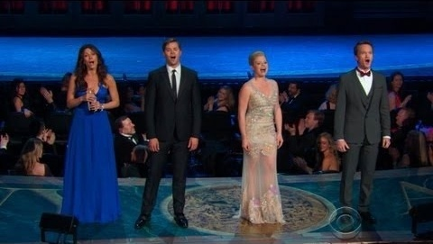 Laura Benanti, Andrew Rannells and Megan Hilty are forced to eat crow in a group number, returning from Los Angeles to Broadway at the 2013 Tony Awards alongside Neil Patrick Harris after their shows were canceled.